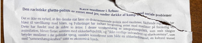 Her ses starten på løbesedlen fra Hizb-ut-Tahrir, der er er lagt i postkassen forskellige steder i Aarhus. Foto: Privat.