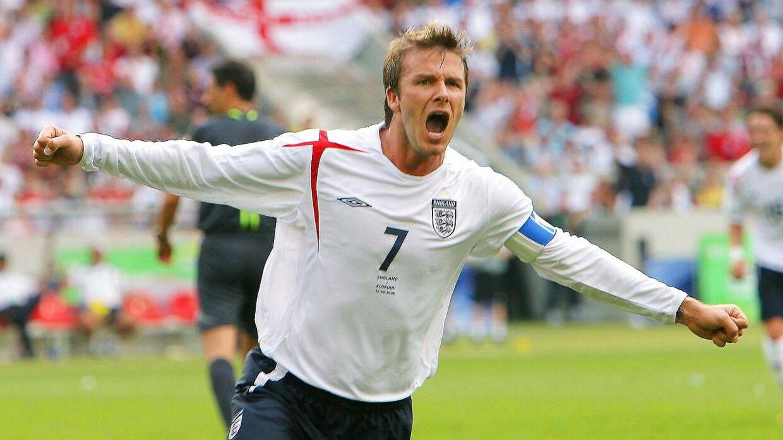 Nu 45-årige David Beckham i den engelske landsholdstrøje i 2006.