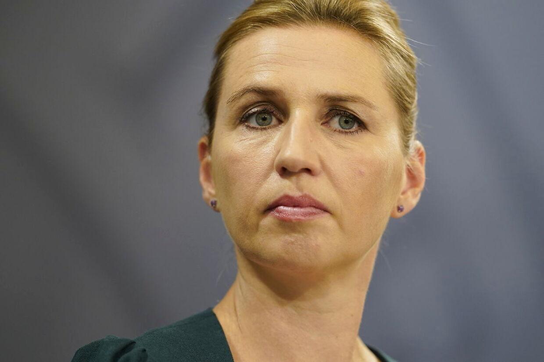 Statsminister Mette Frederiksen holder pressemøde om covid-19 i Statsministeriet i København, lørdag den 15. august 2020.