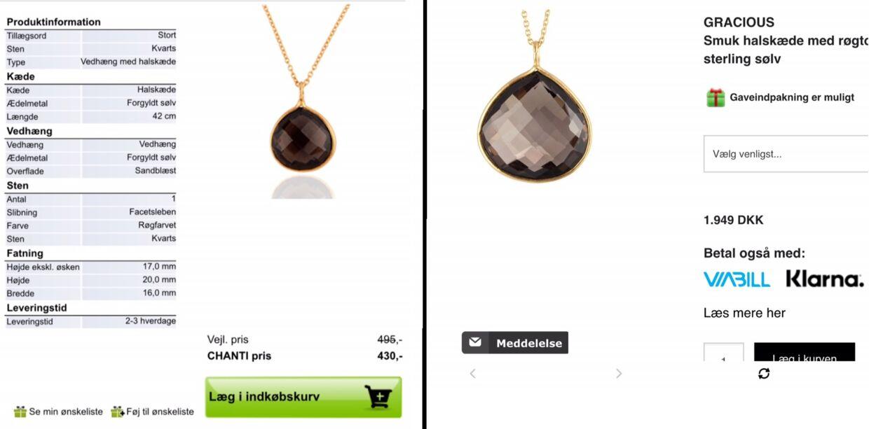 Et af eksemplerne på en halskæde, der bliver solgt hos både Chanti og Mai Manniche. Halskæden koster 430 kroner på tilbud hos Chanti og hele 1.949 hos Jewlscph.