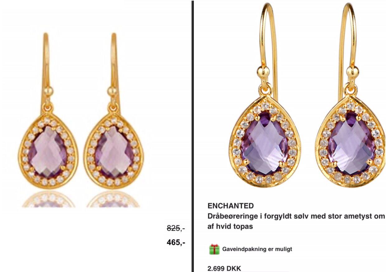 Eksempel på øreringe, der kan købes hos både Chanti og Jewlscph. Førstnævnte tager 465 kroner for øreringene på tilbud, mens Mai Manniche tager 2.699 kroner.