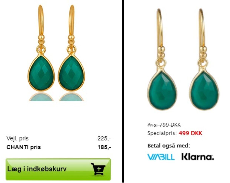 Eksempel på øreringe, der sælges hos både Jewlscph og Chanti. Sidstnævnte tager 185 kroner på tilbud, mens Mai Manniche tager 499 på tilbud.