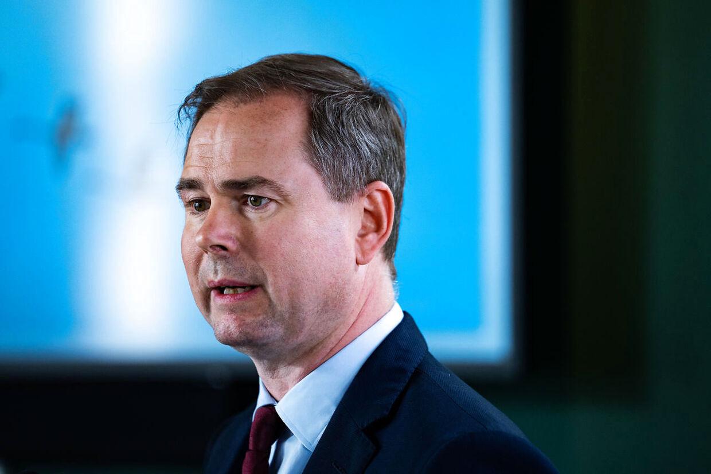 Finansminister Nicolai Wammen præsenterer regeringens forslag til finansloven for 2021, Økonomisk Redegørelse samt ramme for finanspolitikken frem til 2025, i Rentekammersalen i Finansministeriet mandag den 31. august 2020.. (Foto: Emil Helms/Ritzau Scanpix)