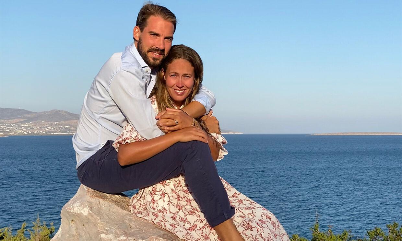 Billedet, der blev sendt ud efter parrets forlovelse sidste sommer. Foto Prins Nikolaos