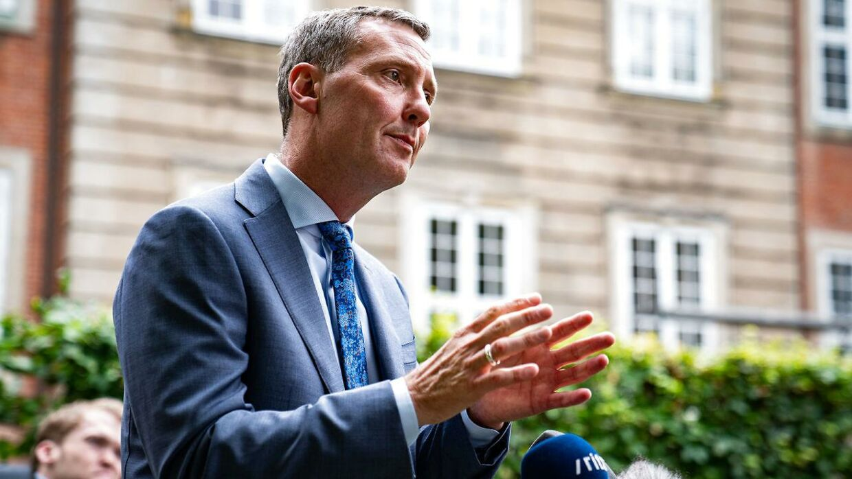 Justitsminister Nick Hækkerup (S) under præsentationen af ny aftale om samtykkelov i Justitsministeriets gård tirsdag 1. september 2020.