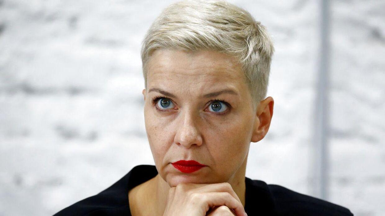 Oppositionslederen Maria Kolesnikova ved et pressemøde i Minsk for få uger siden.