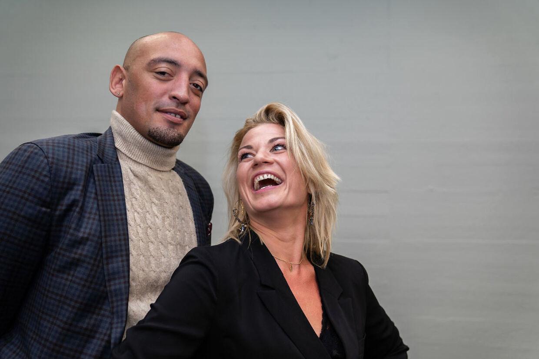 Sanger Wafande og Mie Moltke til 'Vild med dans' pressemøde i København, tirsdag den 8. september 2020. (Foto: Emil Helms/Ritzau Scanpix)