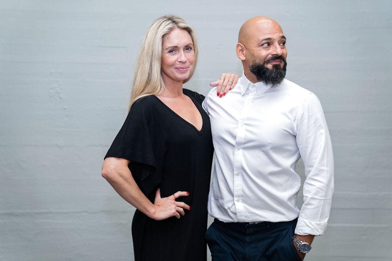 Skuespiller Janus Nabil Bakrawi og Karina Frimodt til 'Vild med dans' pressemøde i København, tirsdag den 8. september 2020. (Foto: Emil Helms/Ritzau Scanpix)
