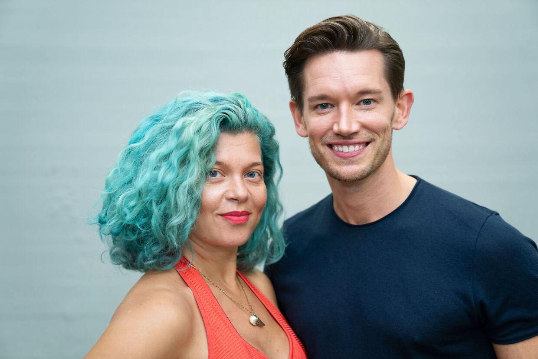Radiovært Sara Bro og Morten Kjeldgaard til 'Vild med dans' pressemøde i København, tirsdag den 8. september 2020. (Foto: Emil Helms/Ritzau Scanpix)