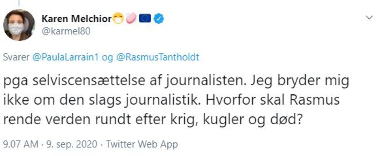 Sådan skriver Karen Melchior som svar på, hvorfor man kritiserer Rasmus Tantholdt, når han blot skildrer virkeligheden.