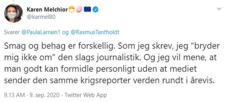 Sådan skriver Karen Melchior videre om sin holdning til TV 2's brug af korrespondent Rasmus Tantholdt.