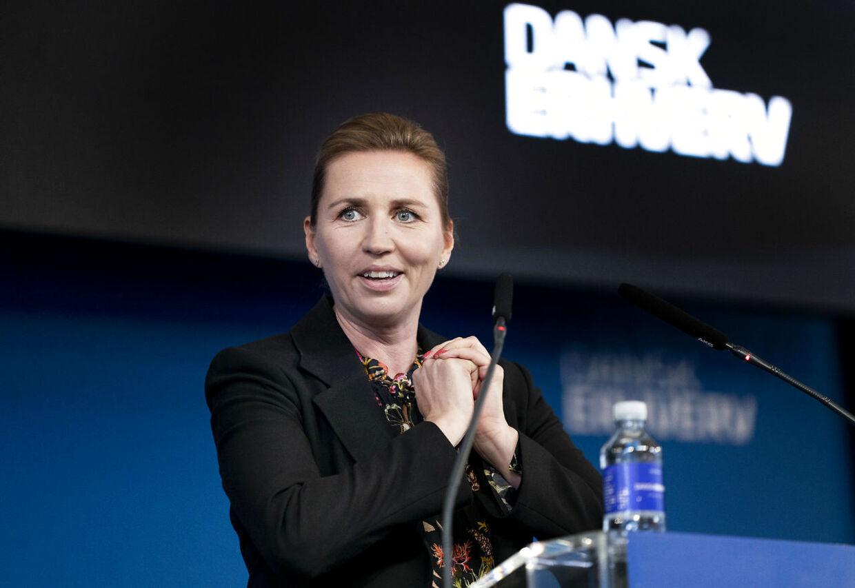 Statsminister Mette Frederiksen (S) taler ved Dansk Erhvervs Årsdag som afholdes i Øksnehallen i København, torsdag den 10. september 2020.