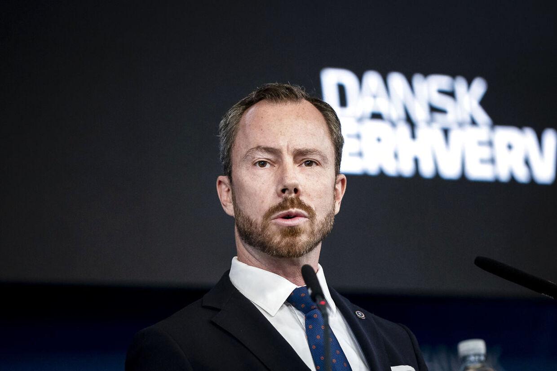 Jakob Ellemann-Jensen, formand, Venstre taler ved Dansk Erhvervs Årsdag som afholdes i Øksnehallen i København, torsdag den 10. september 2020.