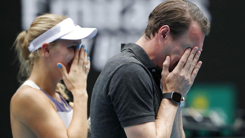 Patrik Wozniacki var tydeligt rørt, da Caroline Wozniackis karriere sluttede tilbage i januar, da hun røg ud af årets Australian Open.