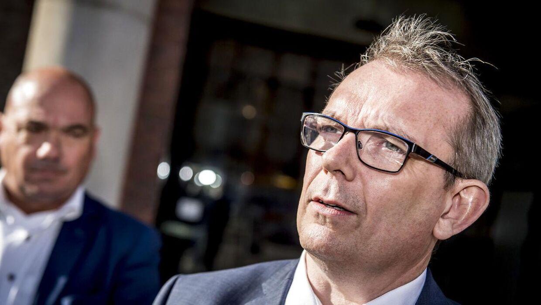 Hans Kristian Skibby (DF) taler med pressen efter møde med Danske Banks ledelse i København, tirsdag den 25. september 2018