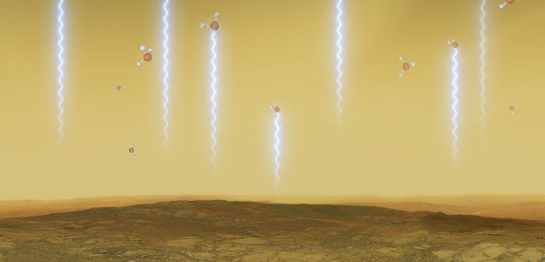 Kunstnerisk fremstilling af hvordan fosfin-molekyler svæver over Venus' oveflade.
