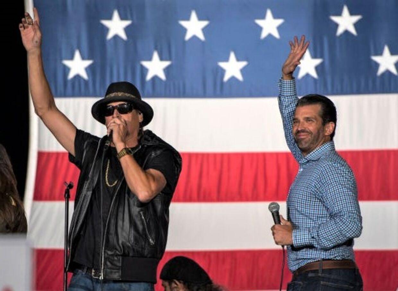 Et umage par. Kid Rock og præsidentens søn Donald Trump Jr. i Michigan.