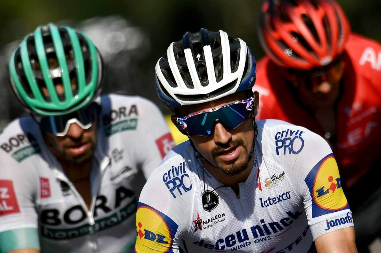 Team Deceuninck rider France's Julian Alaphilippe rides with the escapees during the 16th stage of the 107th edition of the Tour de France cycling race, 164 km between La Tour du Pin and Villard-de-Lans, on September 15, 2020. (Photo by Marco Bertorello / AFP)