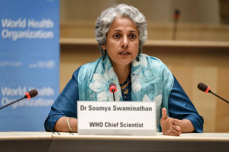 Chefforsker Soumya Swaminathan fotograferet ved en Covid-konference i WHOs hovedkvarter i Geneve.