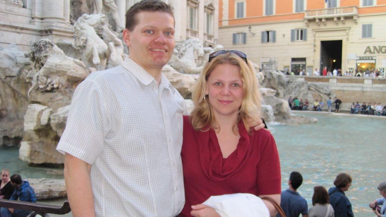 Thomas og Christina i Rom i 2008. Det var på denne tur, de besluttede, at de ville prøve at blive forældre. Foto: Privat.
