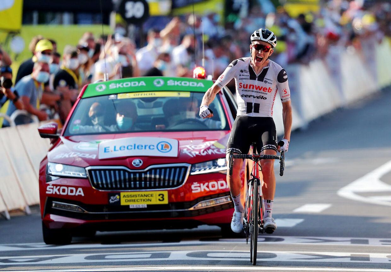 Cycling - Tour de France - Stage 19 - Bourg-en-Bresse to Champagnole - France - September 18, 2020. Team Sunweb rider Soren Kragh Andersen of Denmark wins the stage. Pool via REUTERS/Thibault Camus