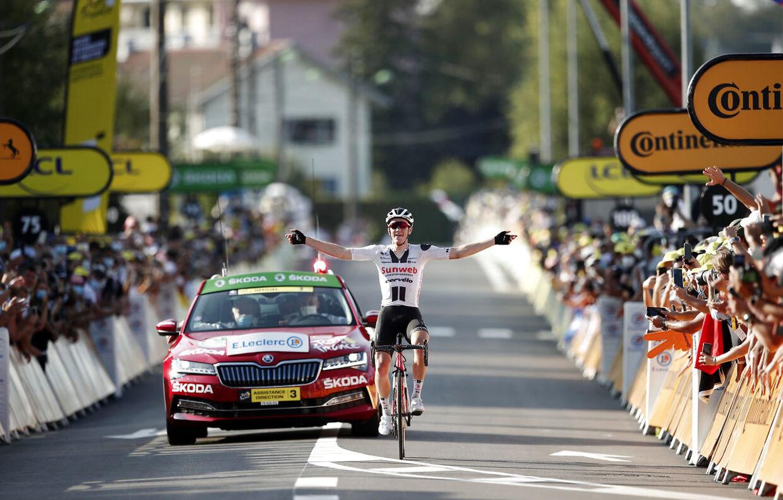 Cycling - Tour de France - Stage 19 - Bourg-en-Bresse to Champagnole - France - September 18, 2020. Team Sunweb rider Soren Kragh Andersen of Denmark wins the stage. REUTERS/Benoit Tessier/Pool