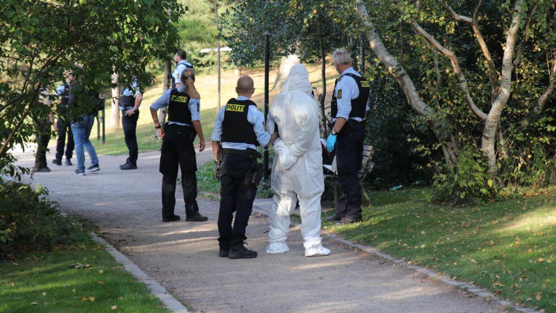 Gerningsmanden blev ført væk i DNA-dragt.