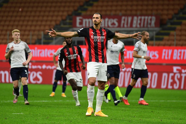 Zlatan Ibrahimovic fejrer sin anden scoring mod Bologna. Miguel Medina/Ritzau Scanpix