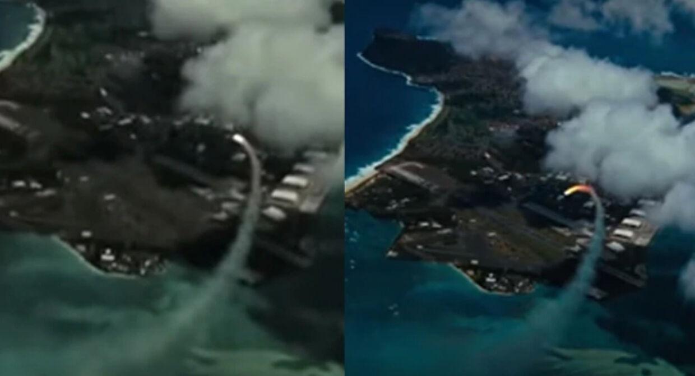 Til venstre ses luftangrebet i den kinesiske video, til højre i filmen 'Transformers: De faldnes hævn'.