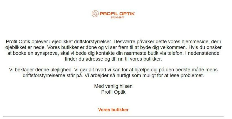 Sådan ser det ud på Profil Optiks hjemmeside.