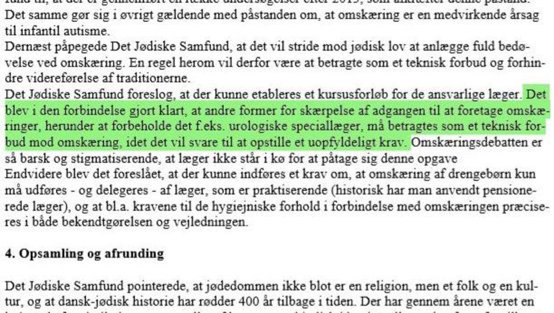 Et af argumenterne fra Det Jødiske Samfund omkring omskæring. Foto: Privat/mødereerat