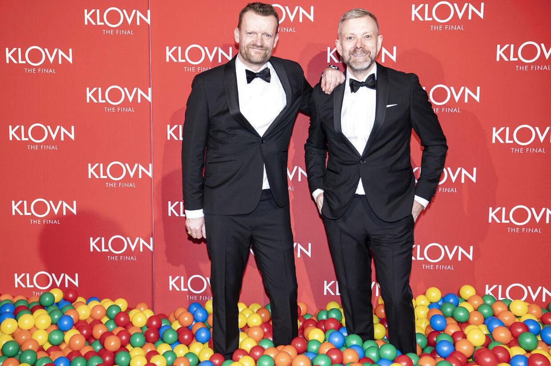 Frank Hvam og Casper Christensen på den røde løber til gallapremiere på filmen 'Klovn The Final', i Bremen Teater onsdag den 29. januar 2020.. (Foto: Niels Christian Vilmann/Ritzau Scanpix)