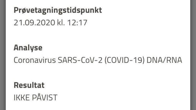 Kamilla Syberg Nielsen har fremsendt dokumentation for, at hun blev testet negativ for covid-19.