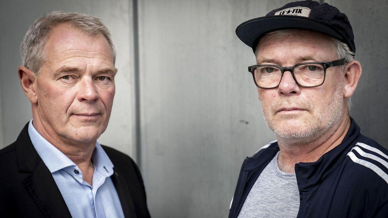 Virkelighedens Jens Møller og Søren Malling, der spiller karakteren Jens Møller i 'Efterforskningen'.