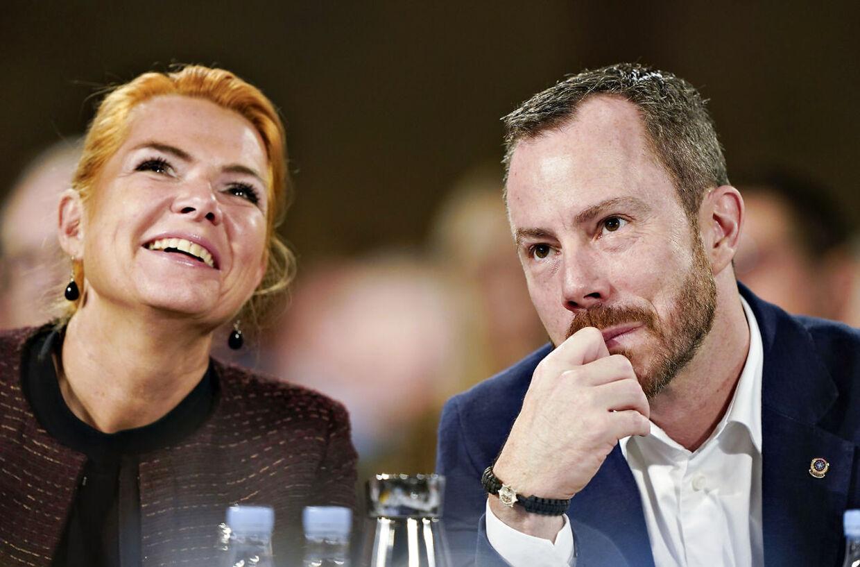 Venstres formand, Jakob Ellemann-Jensen, og næstformand Inger Støjberg ved Venstres landsmøde i Herning Kongrescenter, søndag den 17. november 2019.