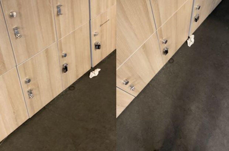 Hårelastik med hårtot og brugt serviet i omklædningsrummet i Fitness World på Vesterbro. Billledet til venstre er taget 25. august klokken 16.32. Billedet til højre er taget 26. august klokken 16.38.