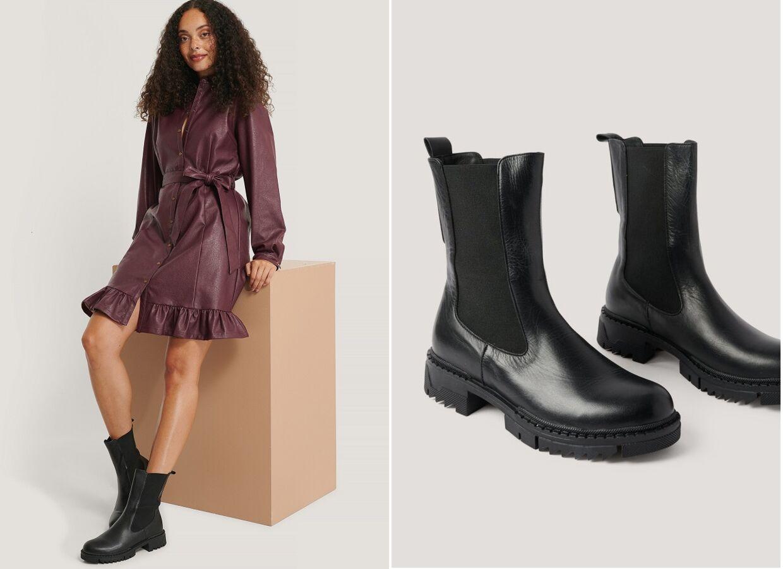 Lækre læder chunky boots fra NA-KD.