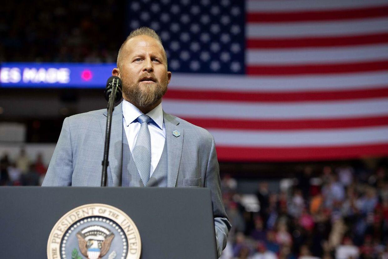Trump-manager Brad Parscale på toppen af sin karriere i 2018. Det var Parscale, der ved mange vælgermøder introducerede præsidenten til fansene.