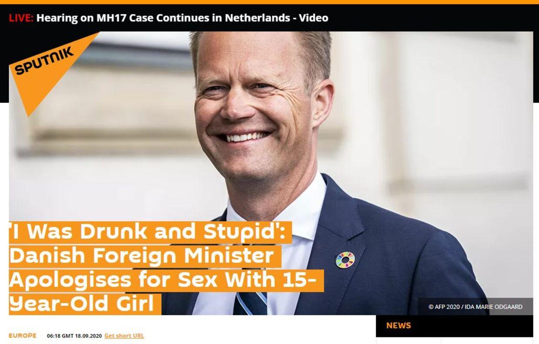 Jeppe Kofods undskyldning omtales her i mediet Sputnik, der er et engelsksproget russisk medie. Mediets historie er bragt ordret i mange andre engelsksprogede medier verden over, der primært dækker enkelte lande og områder.