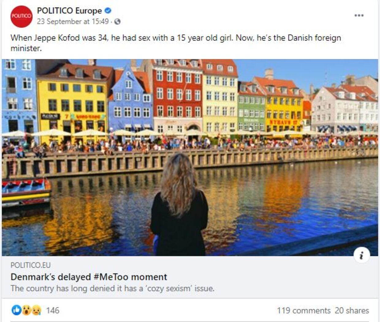 Mediet Politico, der primært skriver om international politik, vinklede på Kofods sag, da de lagde deres historie på Facebook.