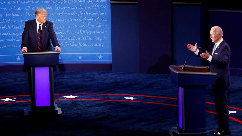 Donald Trump og Joe Biden i debat natten til onsdag.