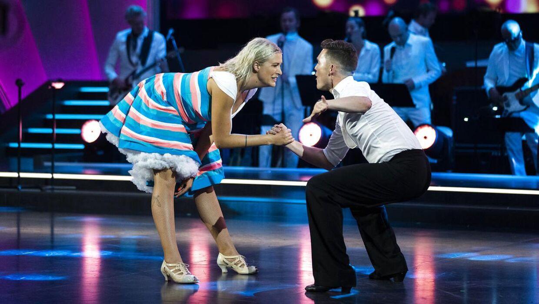 Parret under premieren på 17. sæson af 'Vild med dans'. Det gik ikke helt som håbet.