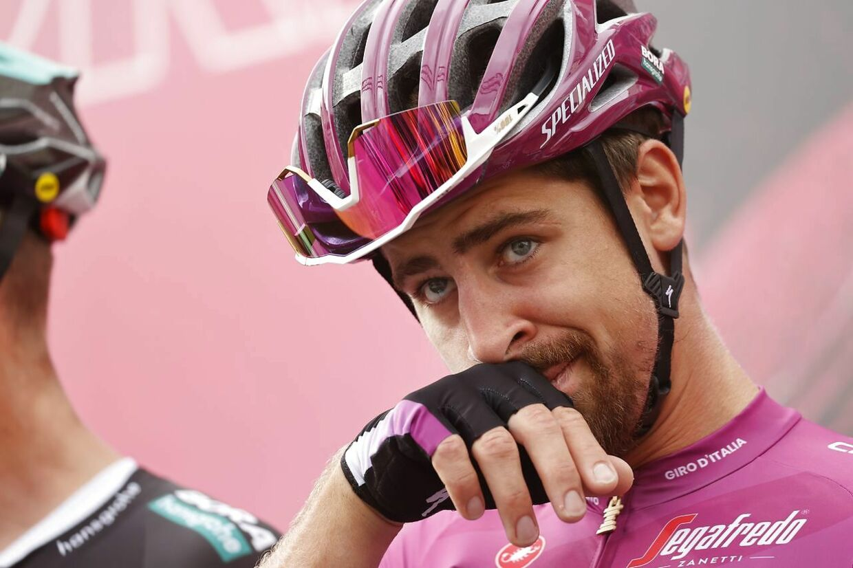 Team Bora rider Slovakia's Peter Sagan stands on the podium before the start of the 5th stage of the Giro d'Italia 2020 cycling race, a 140-kilometer route between Mileto and Camigliatello Silano, on October 7, 2020 in Mileto. (Photo by Luca Bettini / AFP)
