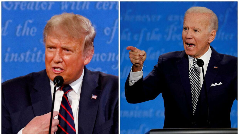 Donald Trump og Joe Biden kæmper om magten i USA.