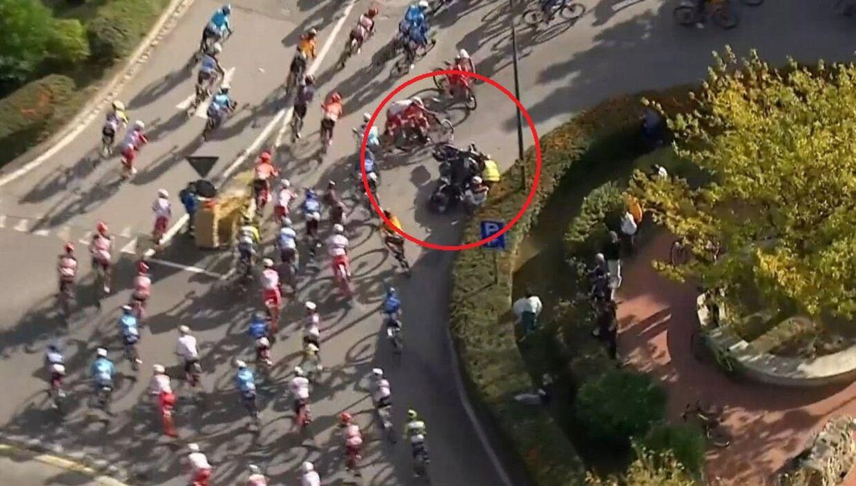 Sådan så det ud kort efter Vivianis uheld med en motorcykel.