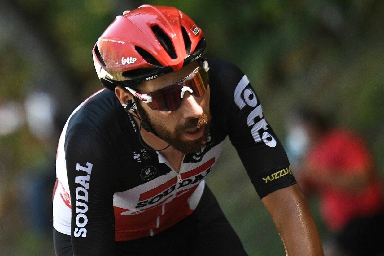 Team Lotto rider Belgium's Thomas De Gendt rides ahead during the 7th stage of the 107th edition of the Tour de France cycling race, 168 km between Millau and Lavaur, on September 4, 2020. (Photo by Anne-Christine POUJOULAT / AFP)