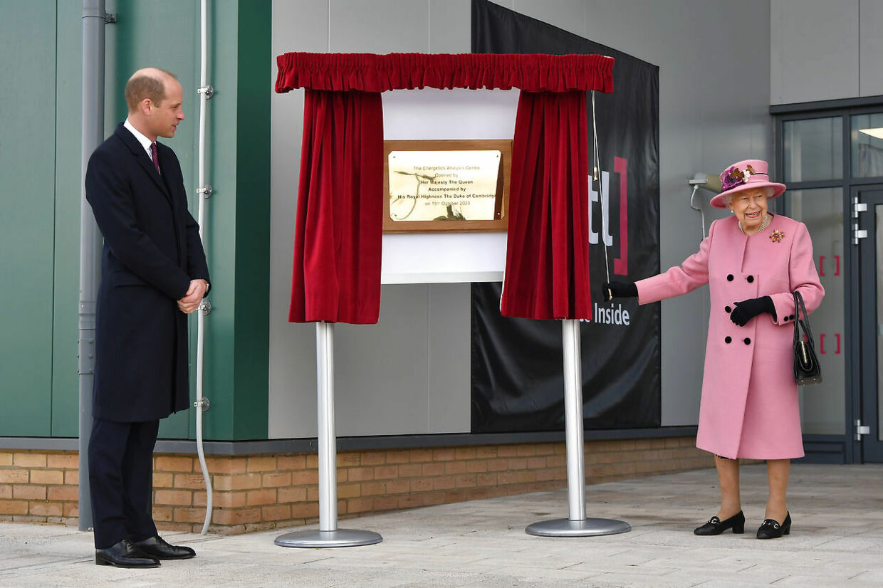 Britain's Prince William stands by as Britain's Queen Elizabeth unveils a plaque to officially open the new Energetics Analysis Centre at Dstl at Porton Science Park near Salisbury, Britain October 15, 2020. Ben Stansall/Pool via REUTERS