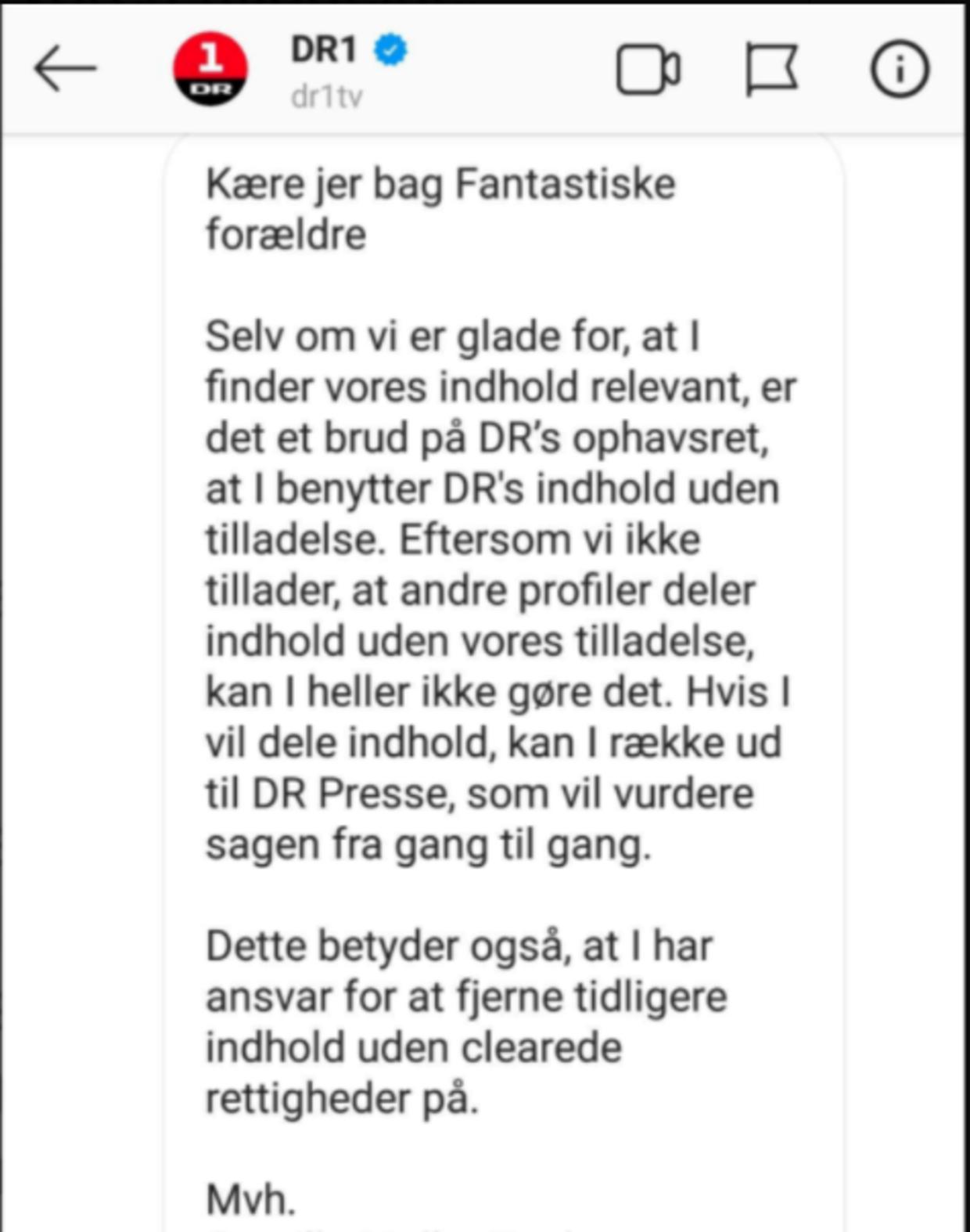 Sådan ser beskeden ud fra DR, som blandt andre Anna Mathiesen har modtaget.
