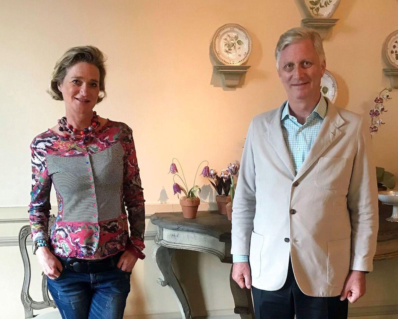 Delphine de Saxe-Cobourg og kong Philippe under mødet torsdag.