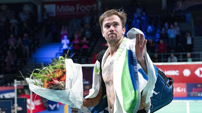 Jan Ø Jørgensens sidste kamp. Herresingle danske Jan Ø Jørgensen mod Anders Antonsen. Danisa Denmark Open Badminton. Odense. Fredag den 16 oktober 2020.